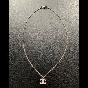 Authentic CHANEL Rhinestone Silvertone Necklace